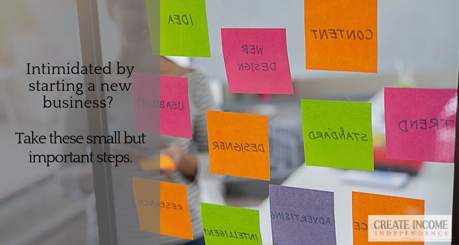 Starting entrepreneur with 12 post-it notes showing the small steps necessary to start a business.